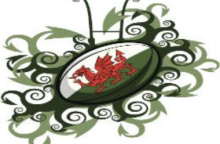 Welsh rugby ball with stylised goal posts and dragon tail swirls
