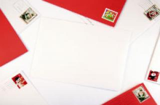 Letters with Christmas stamps