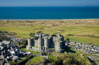 Ariel view of Harlech Castle and to the sea