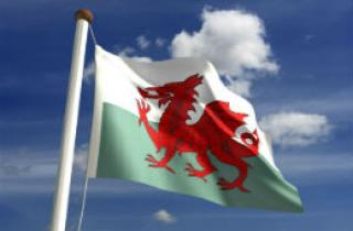 The Welsh flag flying high