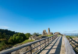 Blue sky above the ruins of Montgomery Castle
