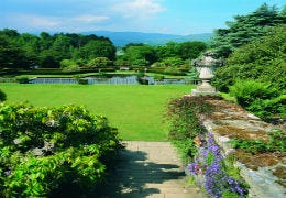 View from the terrace of Bodnant Garden