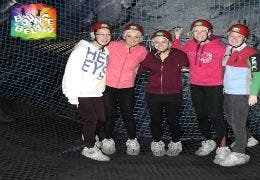 Wales Cottage Holidays team at Bounce Below underground trampolines