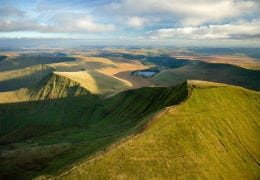 Ariel view of the Brecon Beacons