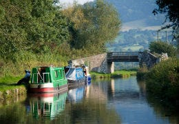 Barges on a canal in Powys