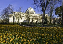 Cardiff National Museum with the gardens in the forefront