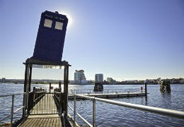 The Dr Who Tardis on a jetty in Cardiff