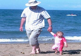 Little girl with Grandad on Aberporth beach