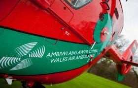 One of the helicopters of the Wales Air Ambulance