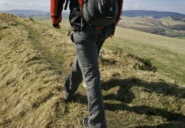 The walking path of Offa's Dyke along the mountains