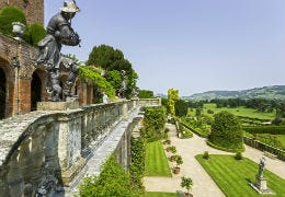 The statue at Powis Castle overlooking the gardens