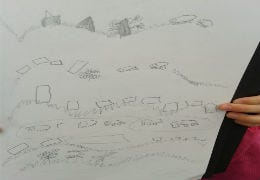A 5 year olds interpretation of the view from Dolforwyn Castle