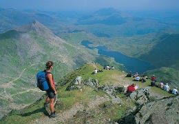 Walkers on a mountain top in the Snowdonia National Park