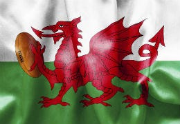 The Welsh flag with the dragon holding a rugby ball