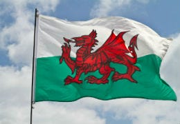 Welsh Flag flying in the wind