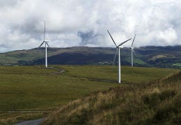 Wind Turbines in the countryside in Wales
