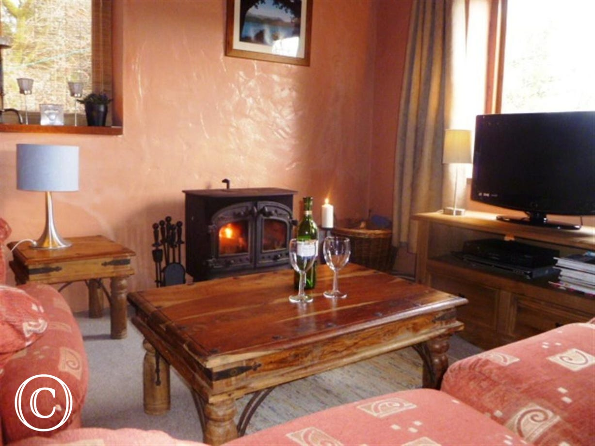 The cosy sitting room has a woodburning stove for cooler evenings