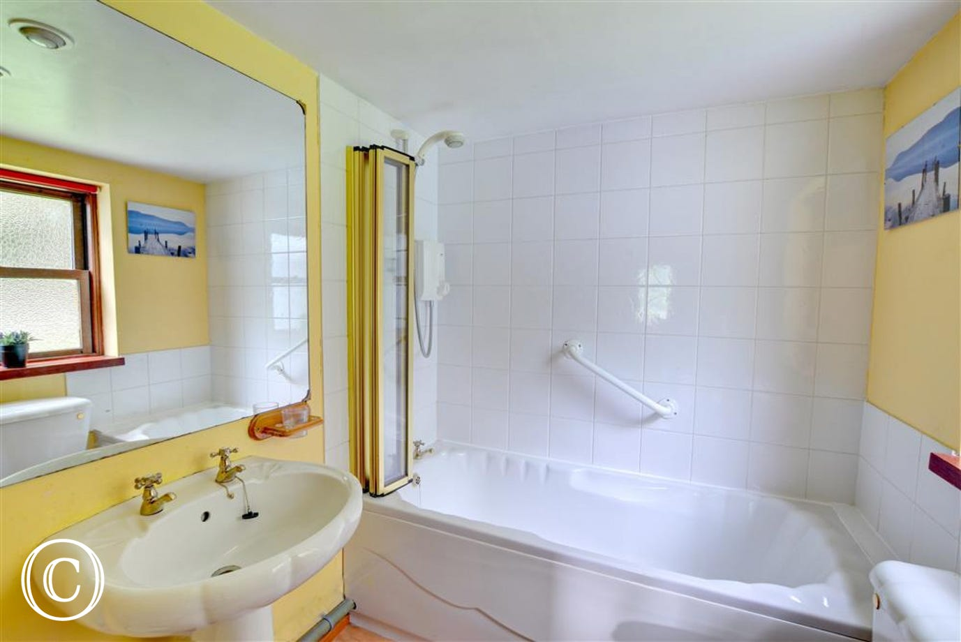 This brightly decorated bathroom includes an electric shower over the bath