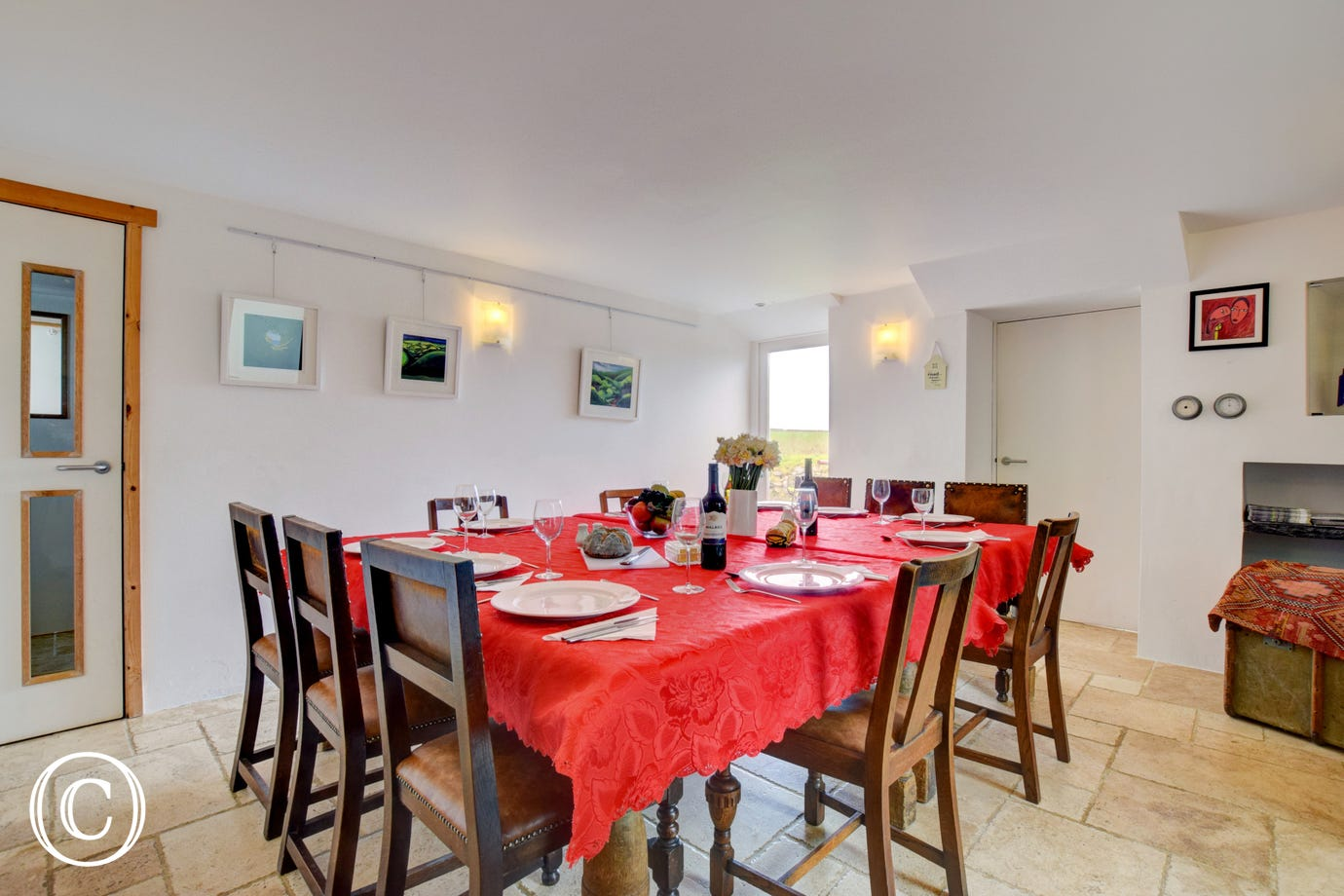 Dining room at Ty Carreg Sampson luxury cottage, Pembrokeshire
