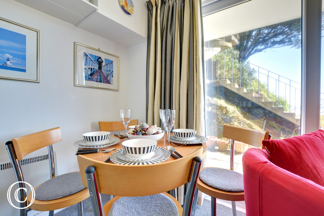 Dining area at this super compact holiday property