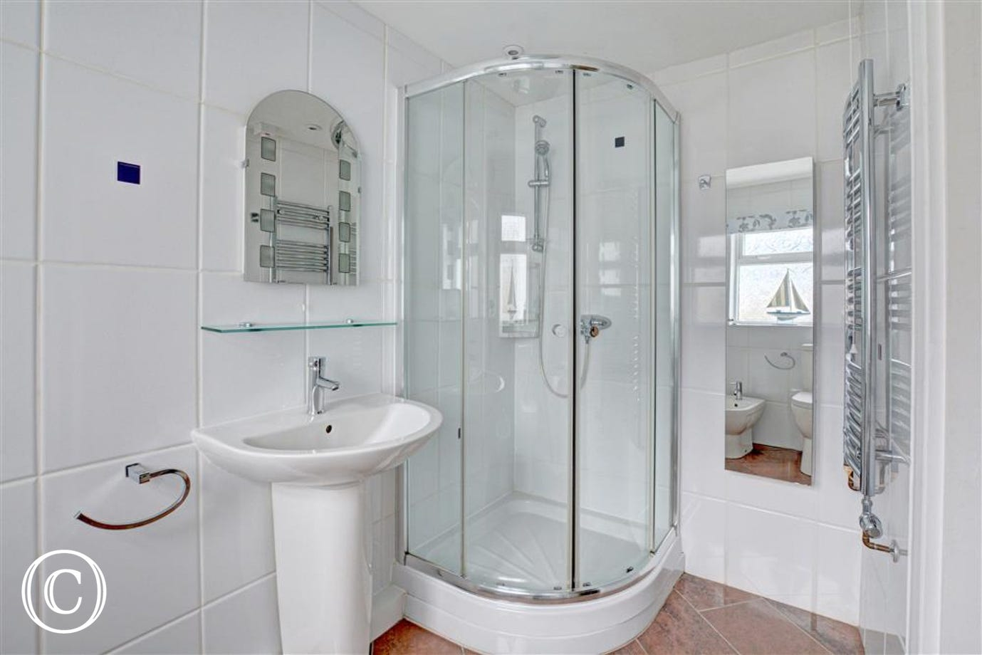 Shower room with shower, wc, bidet and whb