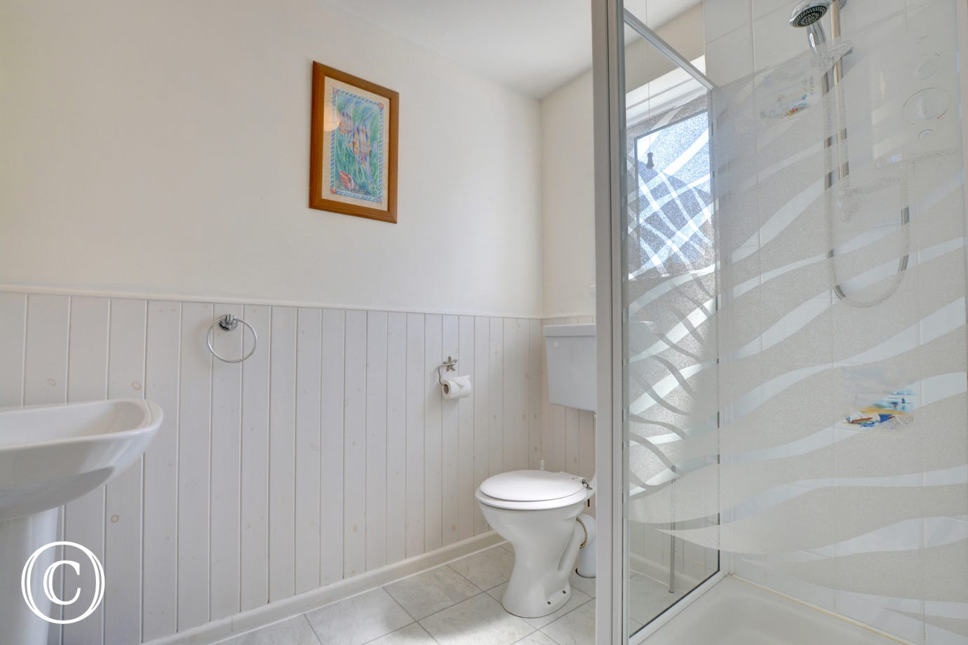 A family shower room at this Saundersfoot holiday property.