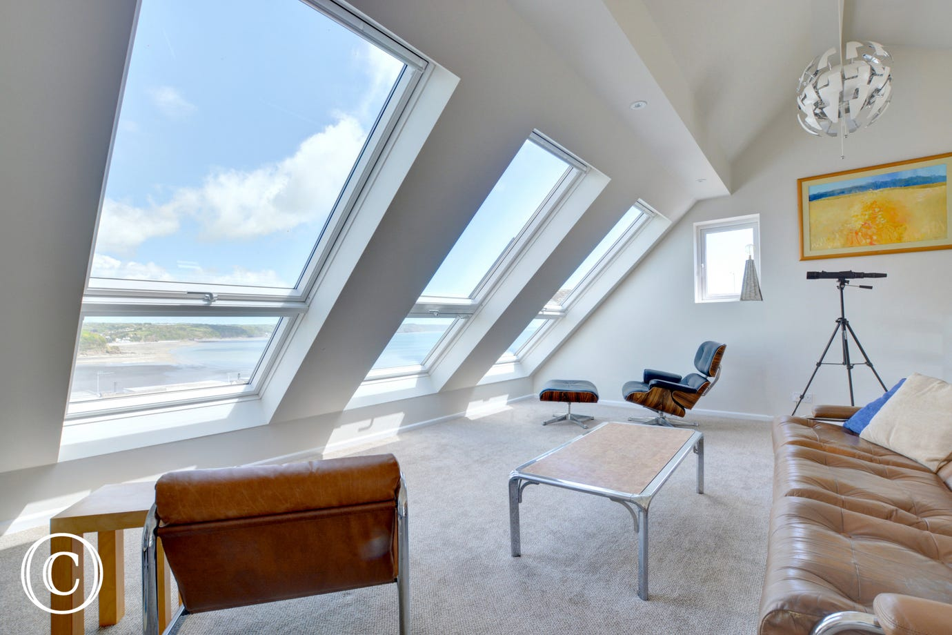 The views from the stunning new mezzanine are great at this self catering holiday property.