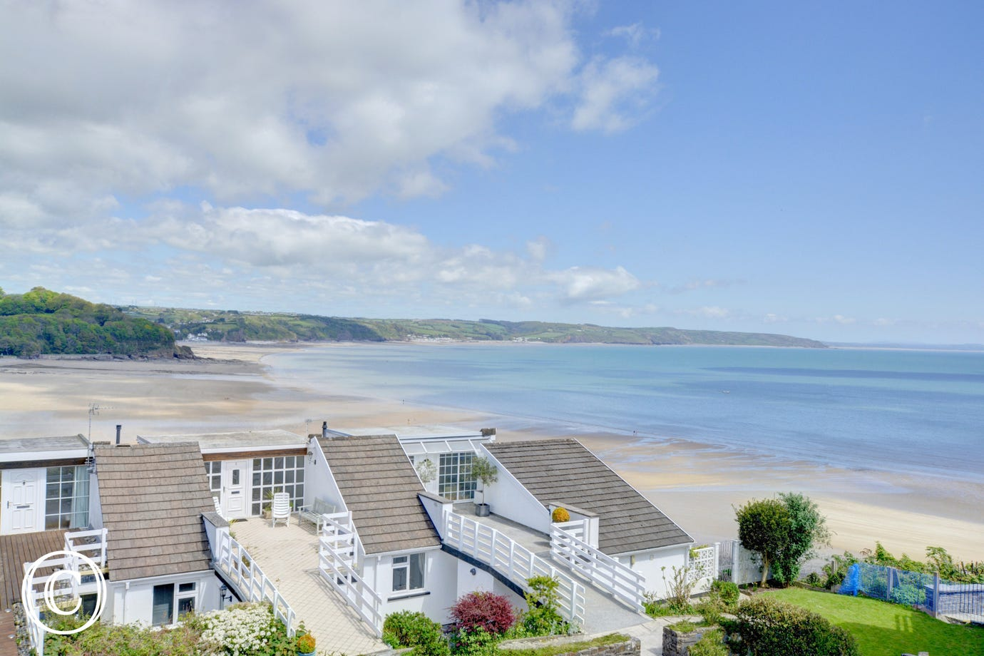 A lovely view for the property of the beach and coastline
