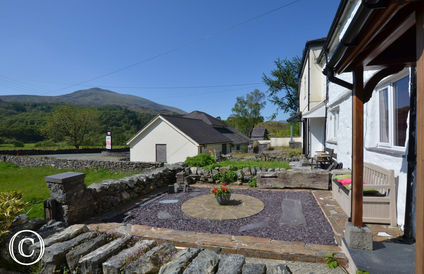 Carreg Cottage with Snowdon in distance