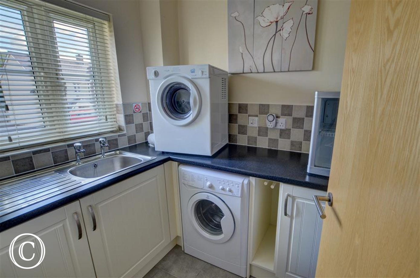 There is a separate utility with washing machine and tumble dryer