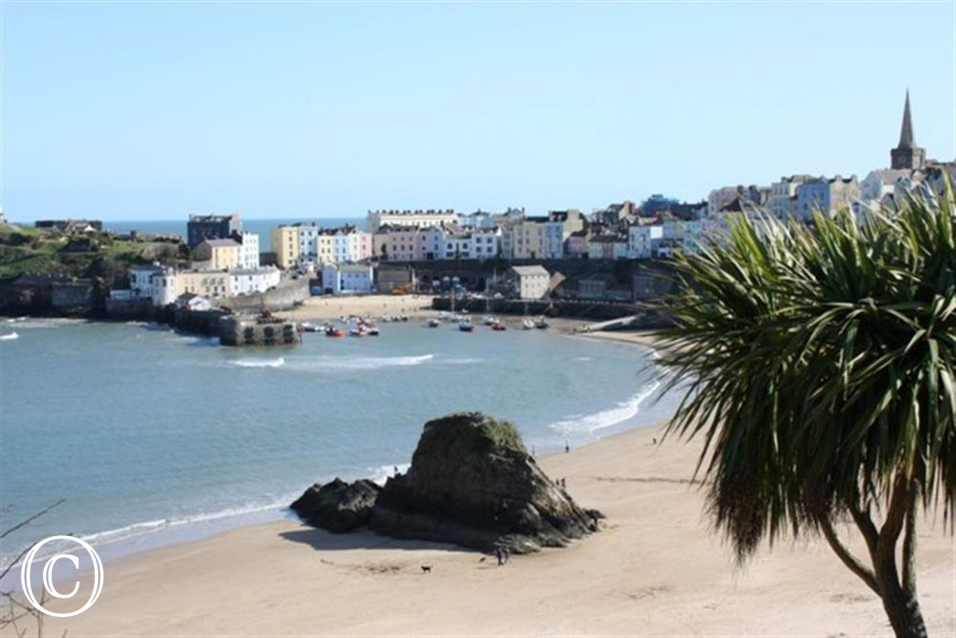 Views of Tenby across the North Beach.