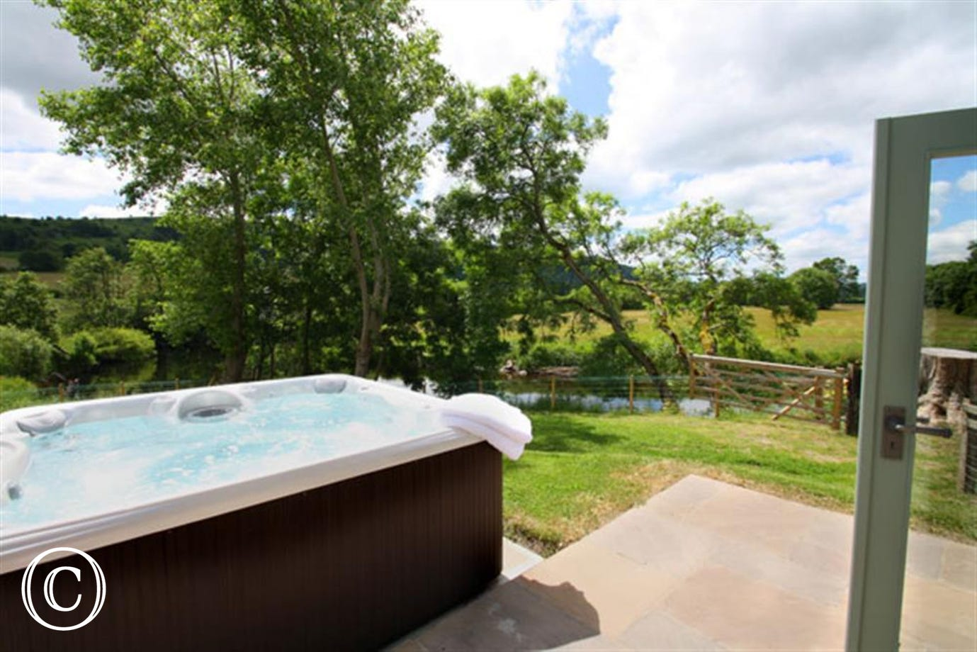 Cottage hot tub on south facing garden