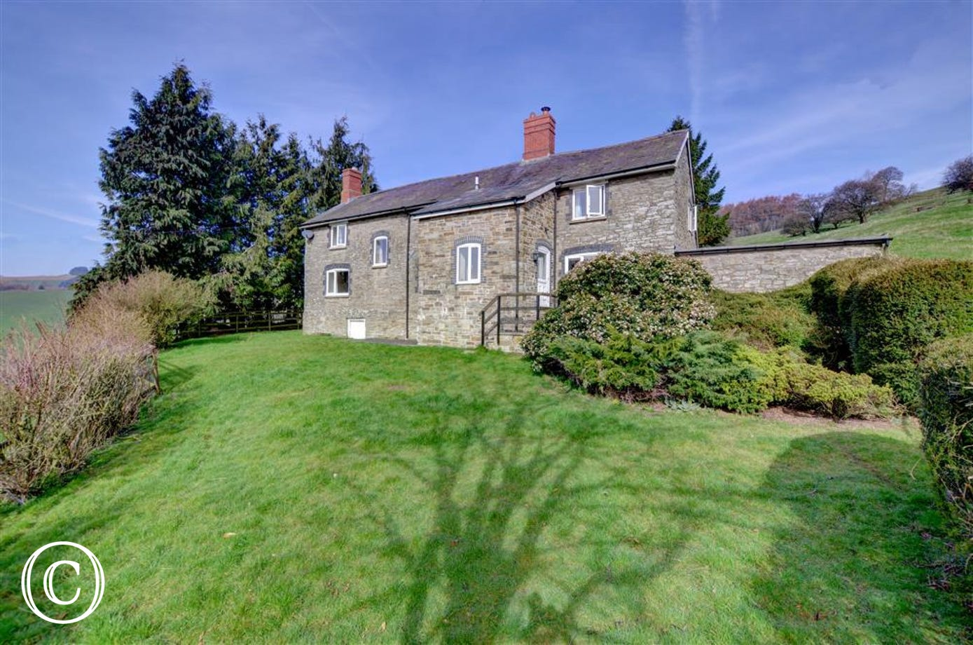 Black Patch is a detached stone former farmhouse in a secluded, elevated position, near Presteigne