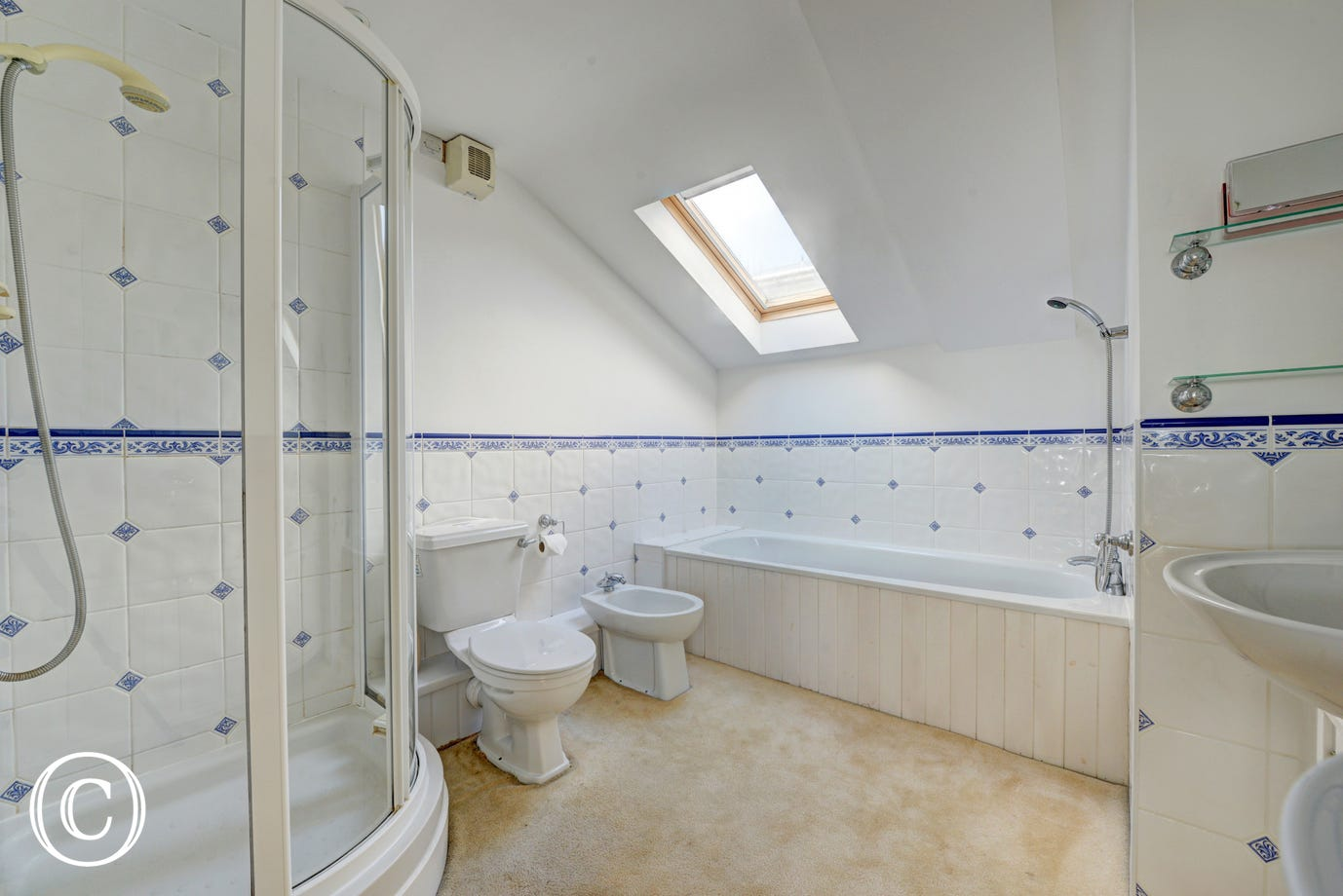 Master en-suite bathroom with bath, shower over, twin  whb, bidet and toilet.