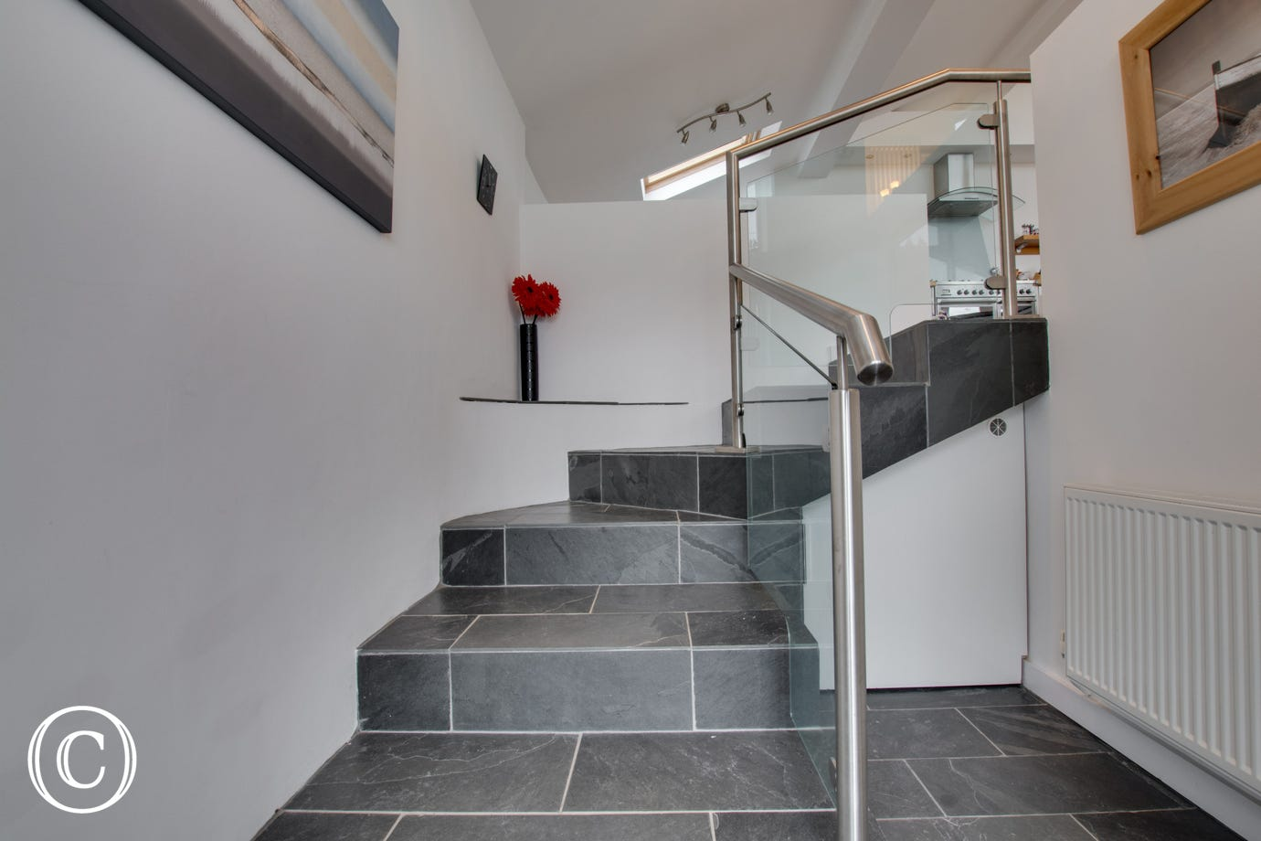 Sea view bungalow in Saundersfoot for 5. Staircase