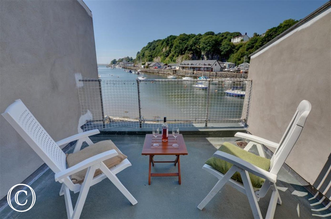 Balcony leading from living room with lovely harbour and marina views