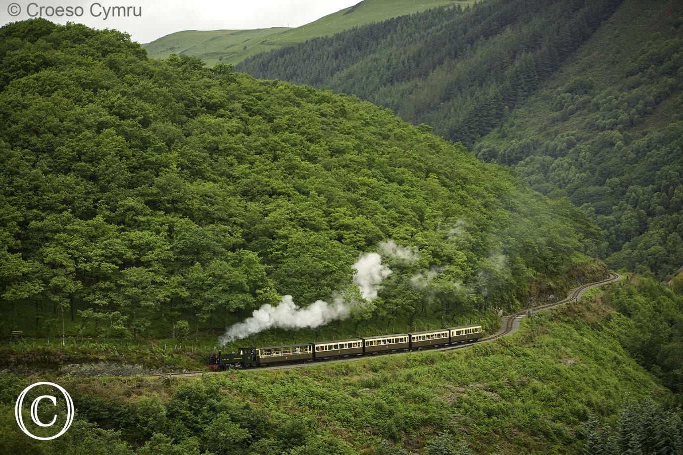 Scenic steam train ride from Aberystwyth to Devils Bridge