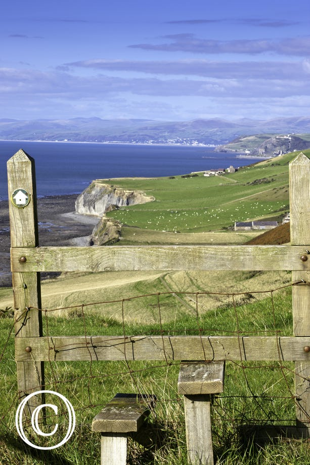 Ceredigion Heritage Coast - view over stile north towards Aberystwyth