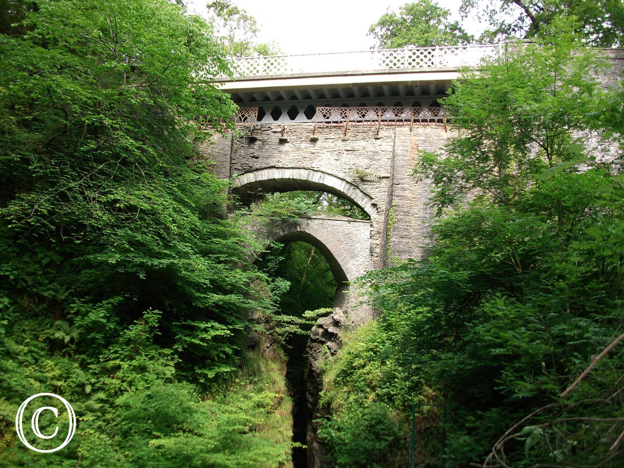 Famous 3 bridges in Pontarfynach (Devils Bridge)