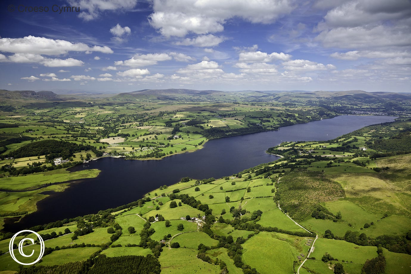 Aerial view of Bala Lake (Llyn Tegid)