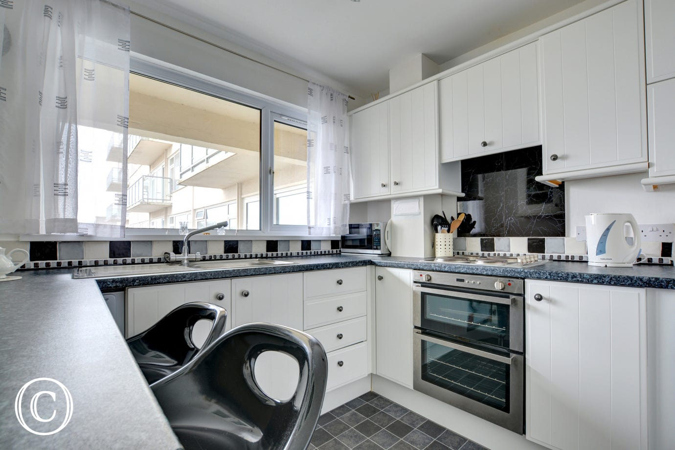 Stylish kitchen at this self catering apartment with great views of North Beach
