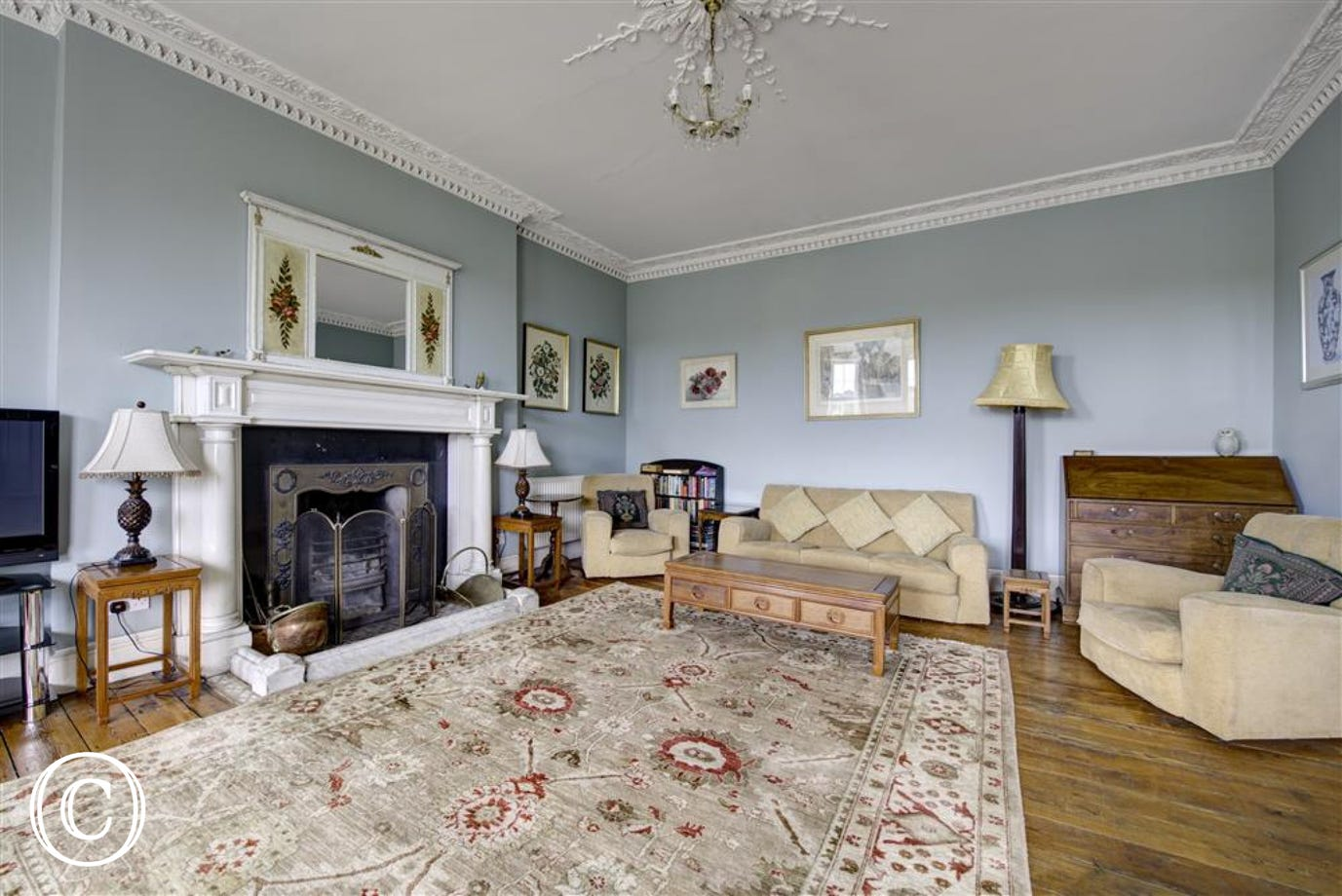 Lovely open fire in drawing room