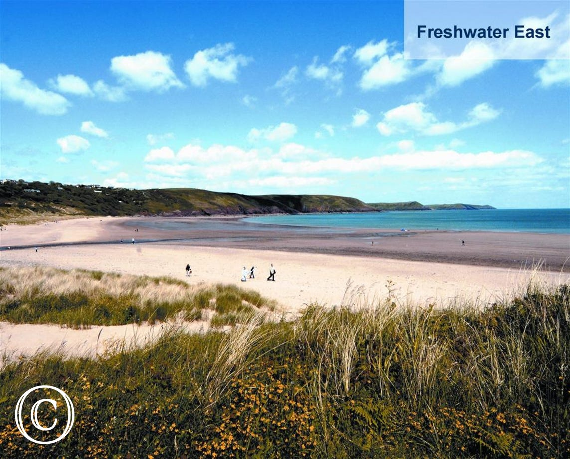 Stunning sandy beaches are all close at hand, such as Freshwater East pictured here