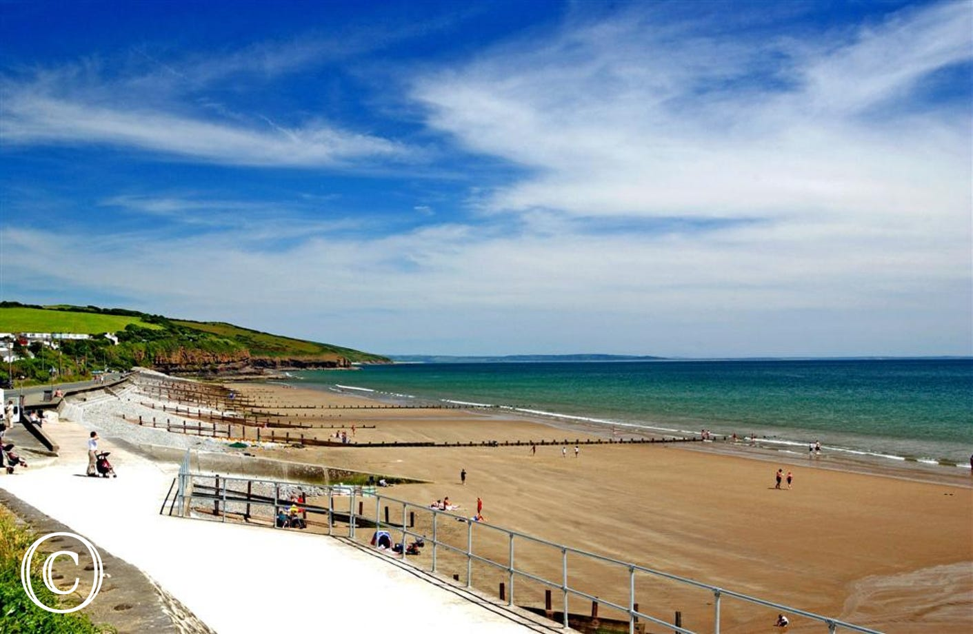 The beautiful beach at Amroth with a couple of cafes and a souvenir shop.