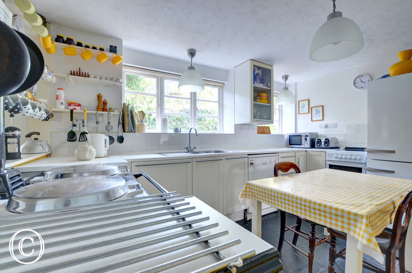 Yellow themed kitchen