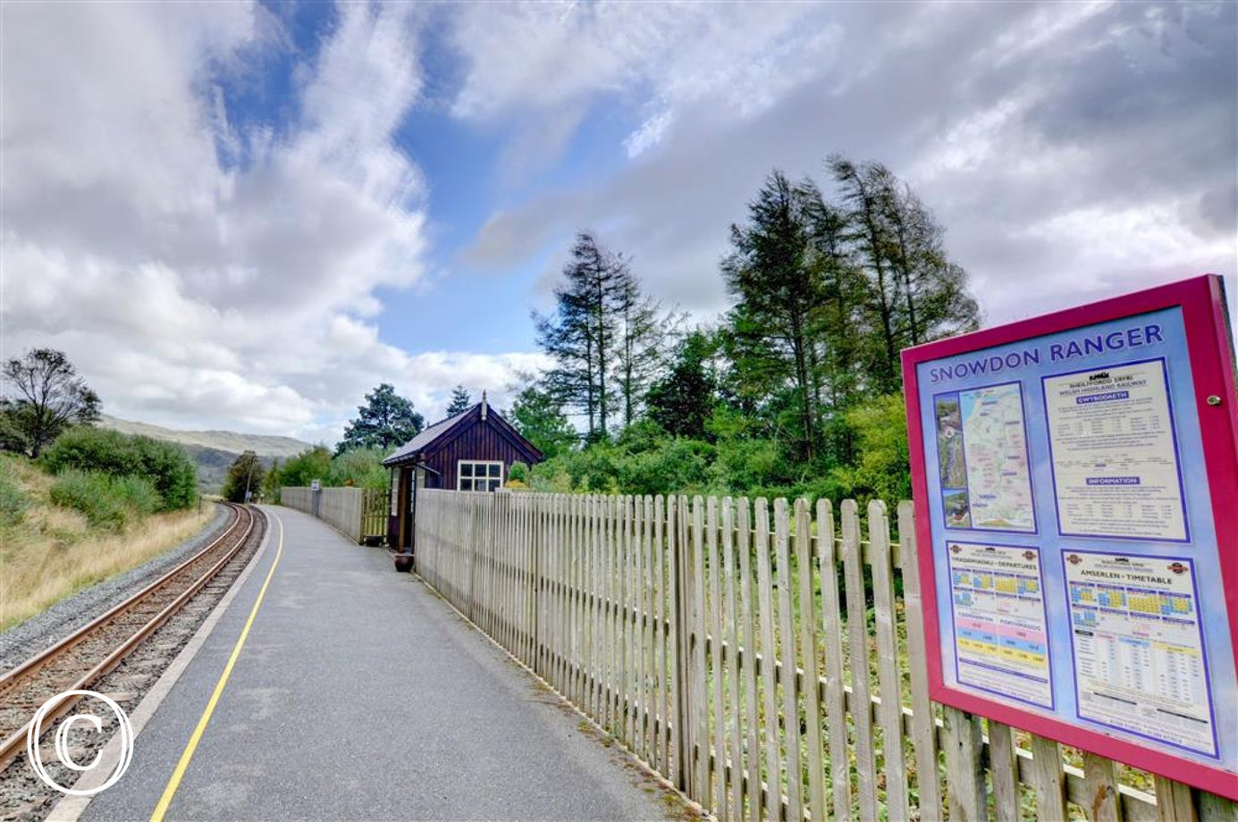 Just beyond the cottage is the Snowdon Ranger Station platform on the Welsh Highland Railway