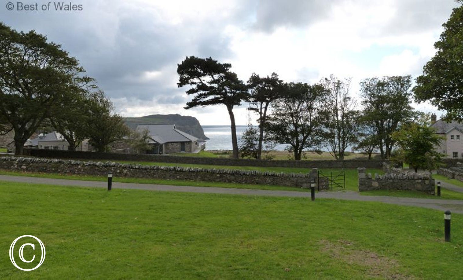 View over the front lawn towards the cafe and the sea