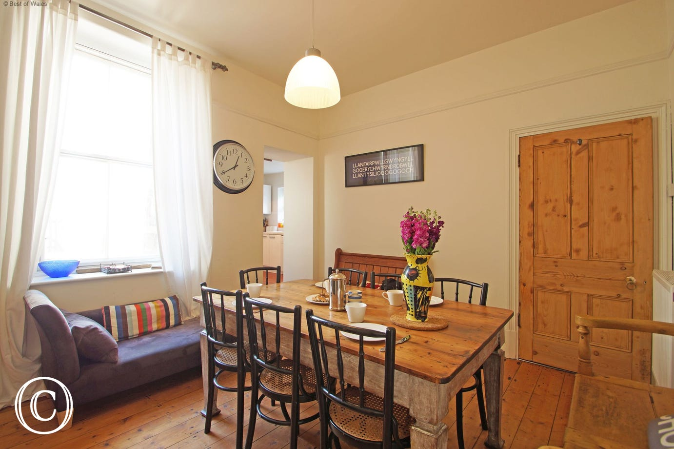 Dining room at this large self catering house in West Wales