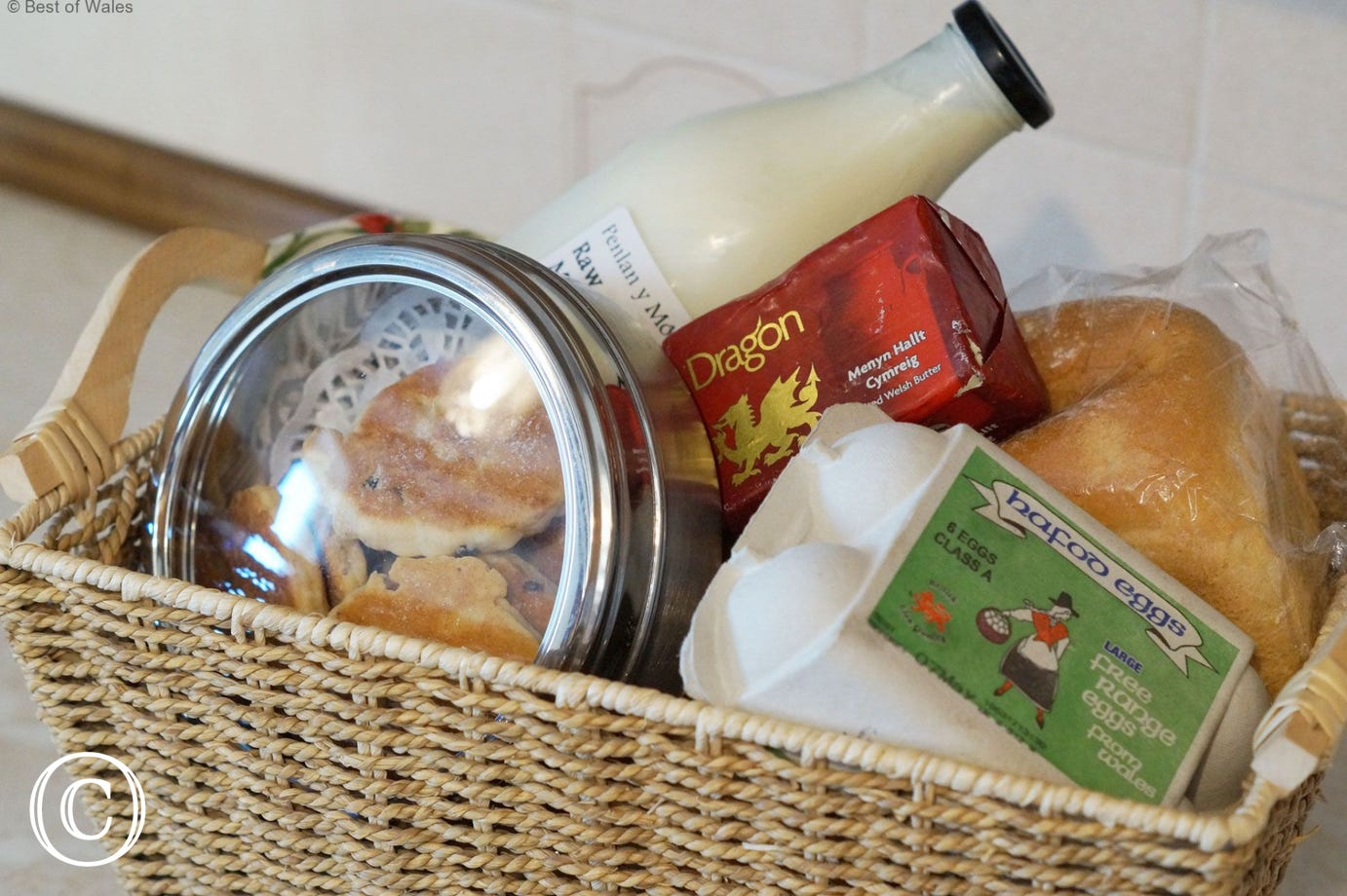 Welcome hamper pack with local produce