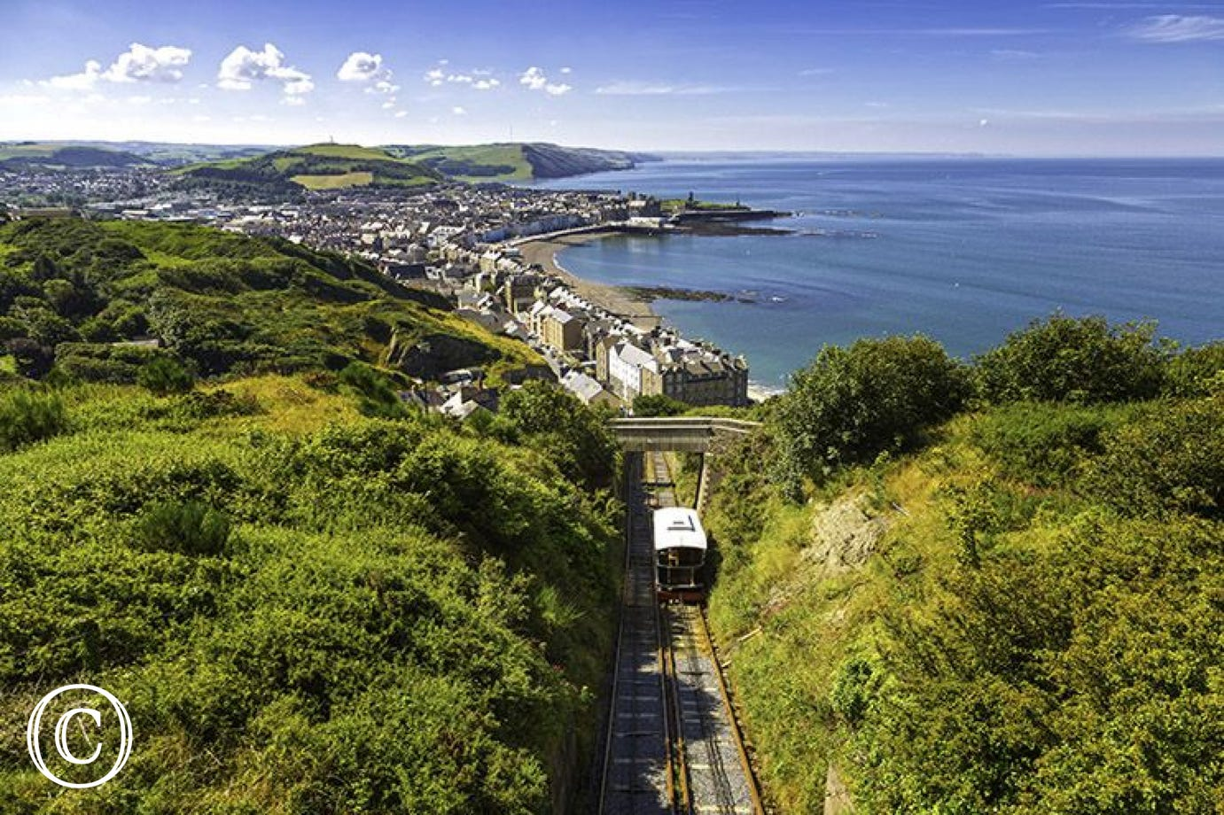 Aberystwyth's Cliff Railway climbing up Constitution Hill